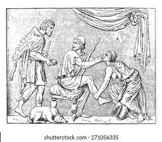 Odysseus and his nurse, vintage engraved illustration.