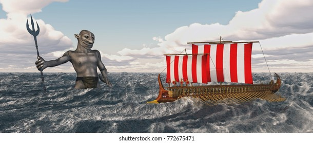 Odysseus and Poseidon in the stormy sea Computer generated 3D illustration