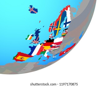 OECD European members with embedded national flag on blue political globe. 3D illustration.