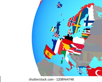 OECD European members with embedded national flags on blue political globe. 3D illustration.