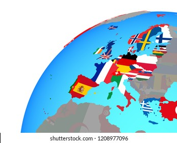 OECD European members with embedded national flags on globe. 3D illustration.