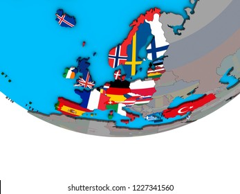 OECD European members with embedded national flags on simple political 3D globe. 3D illustration.