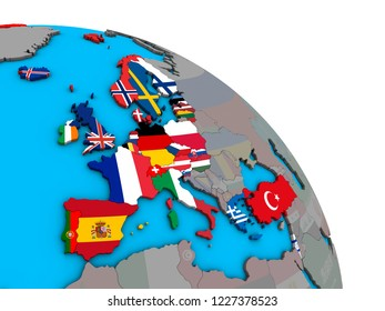 OECD European members with embedded national flags on simple blue political 3D globe. 3D illustration.