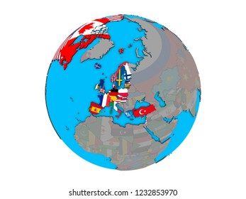 OECD European members with embedded national flags on blue political 3D globe. 3D illustration isolated on white background.