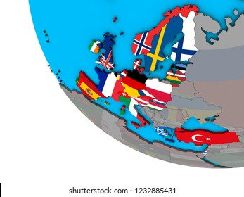 OECD European members with embedded national flags on simple 3D globe. 3D illustration.