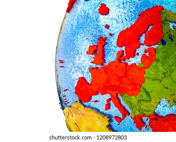 OECD European members highlighted on 3D Earth with visible countries and watery oceans. 3D illustration.