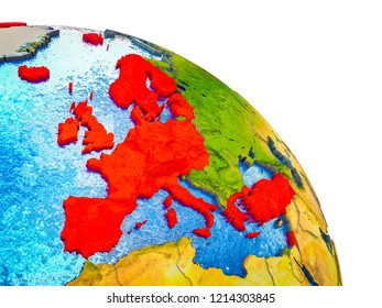 OECD European members Highlighted on 3D Earth model with water and visible country borders. 3D illustration.