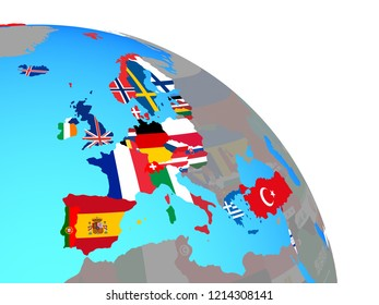OECD European members with national flags on simple blue political globe. 3D illustration.