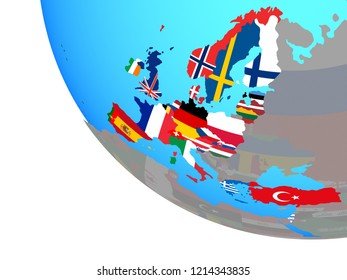 OECD European members with national flags on simple globe. 3D illustration.