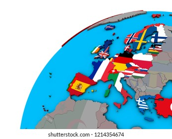 OECD European members with national flags on 3D globe. 3D illustration.