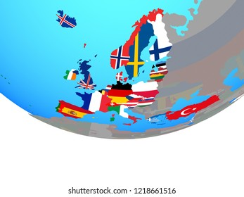 OECD European members with national flags on simple political globe. 3D illustration.