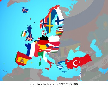 OECD European members with national flags on blue political globe. 3D illustration.