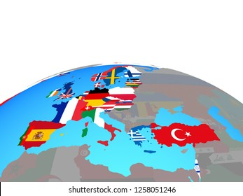 OECD European members with national flags on political globe. 3D illustration.