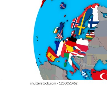 OECD European members with national flags on blue political 3D globe. 3D illustration.