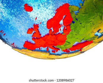 OECD European members on 3D Earth with divided countries and watery oceans. 3D illustration.