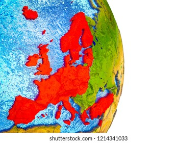 OECD European members on 3D model of Earth with divided countries and blue oceans. 3D illustration.