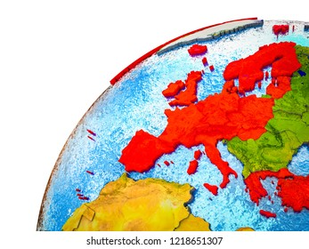 OECD European members on 3D Earth model with visible country borders. 3D illustration.