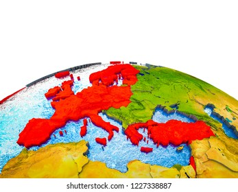 OECD European members on 3D Earth with visible countries and blue oceans with waves. 3D illustration.