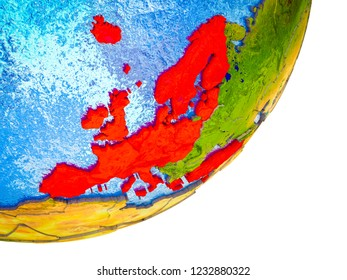 OECD European members on 3D model of Earth with water and divided countries. 3D illustration.