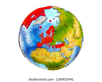 OECD European members on 3D model of Earth with country borders and water in oceans. 3D illustration isolated on white background.