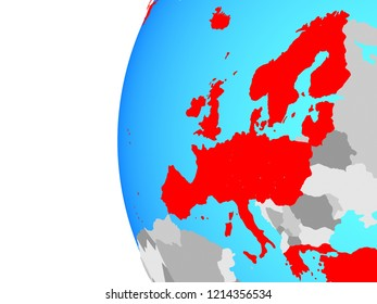 OECD European members on blue political globe. 3D illustration.