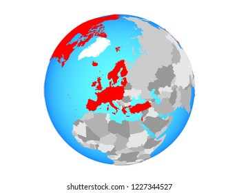 OECD European members on blue political globe. 3D illustration isolated on white background.