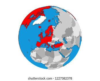 OECD European members on blue political 3D globe. 3D illustration isolated on white background.