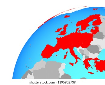 OECD European members on globe. 3D illustration.