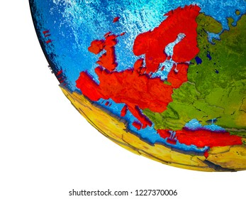 OECD European members on model of Earth with country borders and blue oceans with waves. 3D illustration.