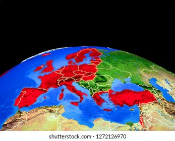 OECD European members on model of planet Earth with country borders and very detailed planet surface. 3D illustration. Elements of this image furnished by NASA.