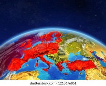 OECD European members on planet Earth with country borders and highly detailed planet surface and clouds. 3D illustration. Elements of this image furnished by NASA.