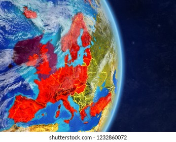 OECD European members on planet planet Earth with country borders. Extremely detailed planet surface and clouds. 3D illustration. Elements of this image furnished by NASA.