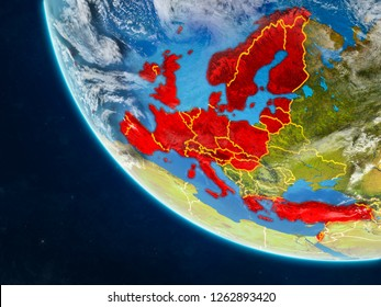 OECD European members on planet Earth from space with country borders. Very fine detail of planet surface and clouds. 3D illustration. Elements of this image furnished by NASA.