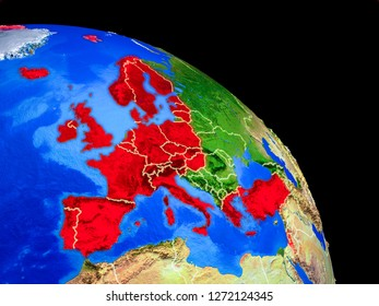 OECD European members on planet Earth from space with country borders. Very fine detail of planet surface. 3D illustration. Elements of this image furnished by NASA.