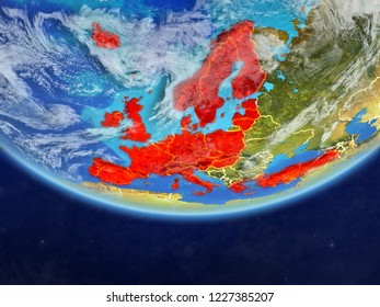 OECD European members on realistic model of planet Earth with country borders and very detailed planet surface and clouds. 3D illustration. Elements of this image furnished by NASA.
