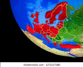 OECD European members on realistic model of planet Earth with country borders and very detailed planet surface. 3D illustration. Elements of this image furnished by NASA.