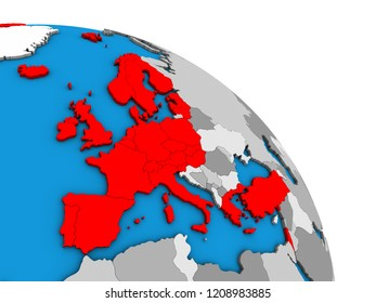 OECD European members on simple blue political 3D globe. 3D illustration.