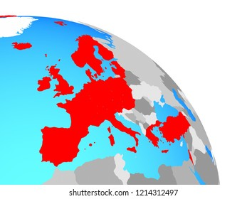 OECD European members on simple blue political globe. 3D illustration.