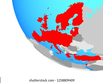 OECD European members on simple globe. 3D illustration.