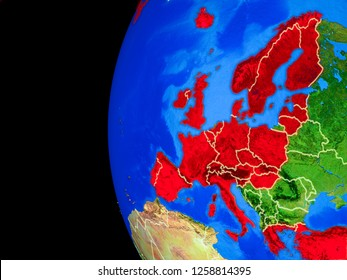 OECD European members from space on realistic model of planet Earth with country borders and detailed planet surface. 3D illustration. Elements of this image furnished by NASA.