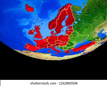 OECD European members from space on model of planet Earth with country borders. 3D illustration. Elements of this image furnished by NASA.