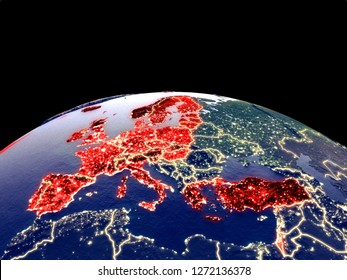 OECD European members from space on planet Earth at night with bright city lights. Detailed plastic planet surface with real mountains. 3D illustration. Elements of this image furnished by NASA.
