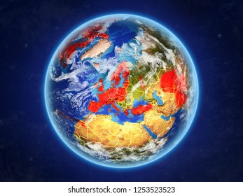 OECD European members from space. Planet Earth with country borders and extremely high detail of planet surface and clouds. 3D illustration. Elements of this image furnished by NASA.
