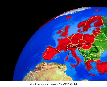 OECD European members from space. Planet Earth with country borders and extremely high detail of planet surface. 3D illustration. Elements of this image furnished by NASA.