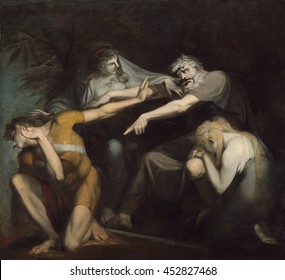 Oedipus Cursing His Son, Polynices, by Henry Fuseli, 1786, British painting, oil on canvas. Henry Fuseli's dramatic painting, depicts the tense climax of 'Oedipus at Colonus', a drama by Sophocles. S