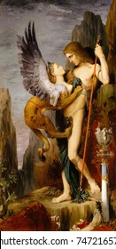 Oedipus and the Sphinx, by Gustave Moreau, 1864, French Romantic/Symbolist painting, oil on canvas. Greek hero Oedipus and the Sphinx are outside Thebes, where he must solve her riddle to save the cit
