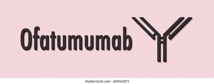 Ofatumumab monoclonal antibody drug. Targets CD20 on B-cells and is used in the treatment of cancer. Generic name and stylized antibody.