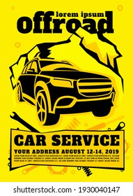 Off road car service poster. Automotive offroad repair concept. Off-roading suv maintainance and repairing workshop design. Isolated illustration in yellow and black. Vertical background.