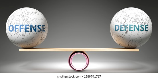 Offense and defense in balance - pictured as balanced balls on scale that symbolize harmony and equity between Offense and defense that is good and beneficial., 3d illustration