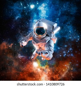 I offer you the stars / 3D illustration of science fiction scene with astronaut floating in outer space reaching with open hand towards viewer